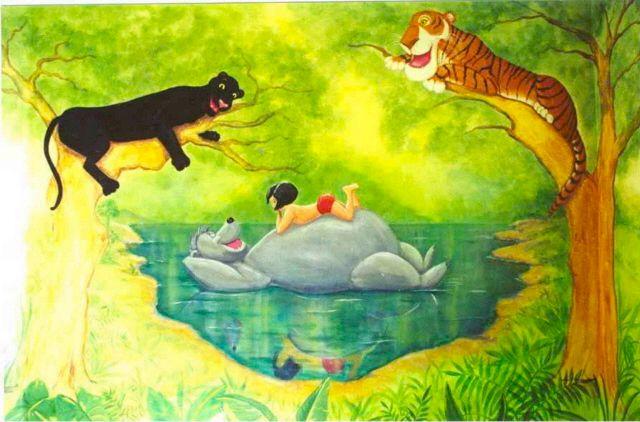 Disney 39 s jungle book mural for Children s mural artist